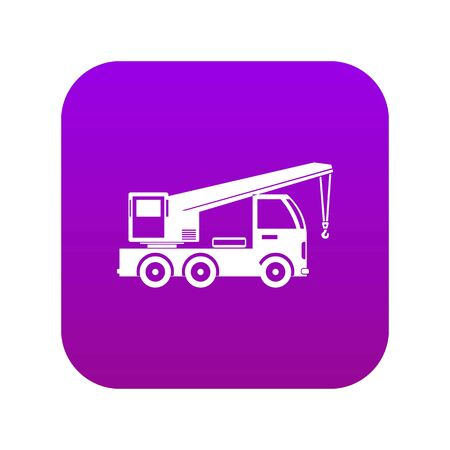 Truck mounted crane icon digital purple for any design isolated on white vector illustration Çizim