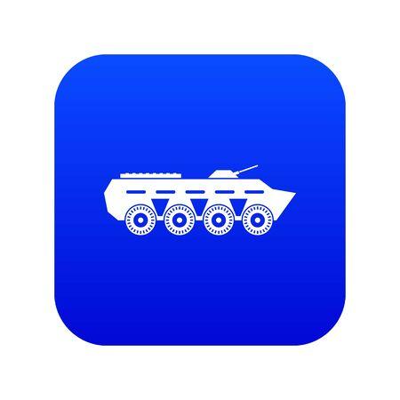 Army battle tank icon digital blue