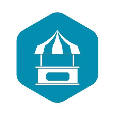 Ladenkiosk mit gestreiftem Markisensymbol, einfacher Stil