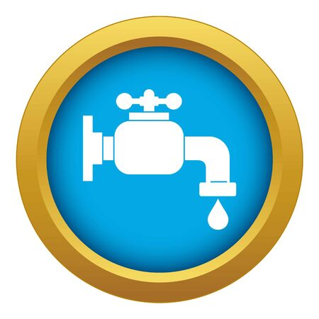 Water tap icon blue isolated