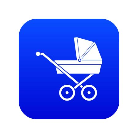 Baby carriage icon digital blue Stock Photo