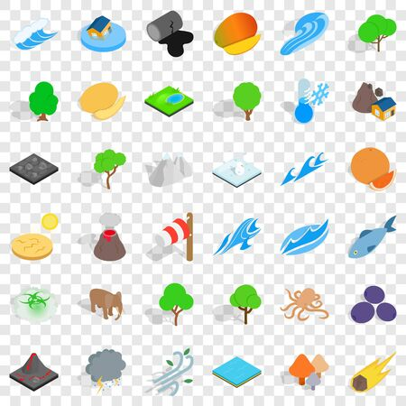 Animal of earth icons set, isometric style