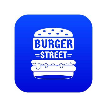 Big street burger icon blue