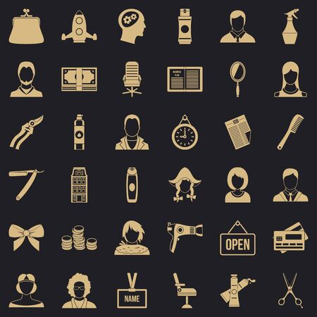 Hairdresser icons set, simple style Banque d'images - 128268915