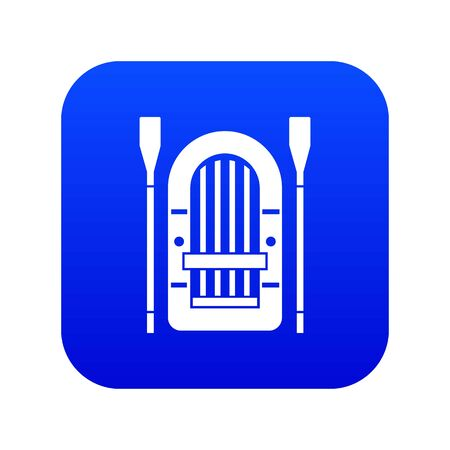 Boat with paddles icon digital blue