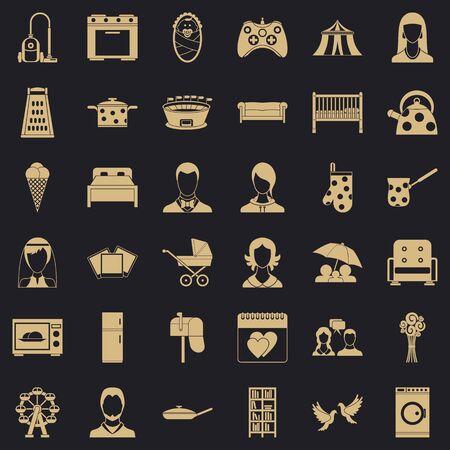 Family icons set, simple style Фото со стока