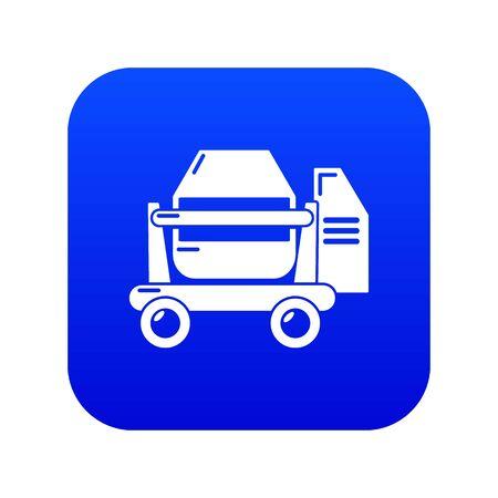 Concrete mixer icon blue