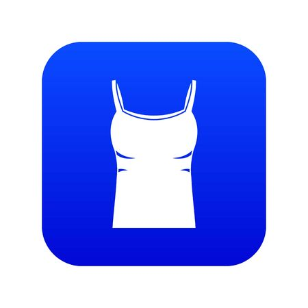 Blank women tank top icon digital blue
