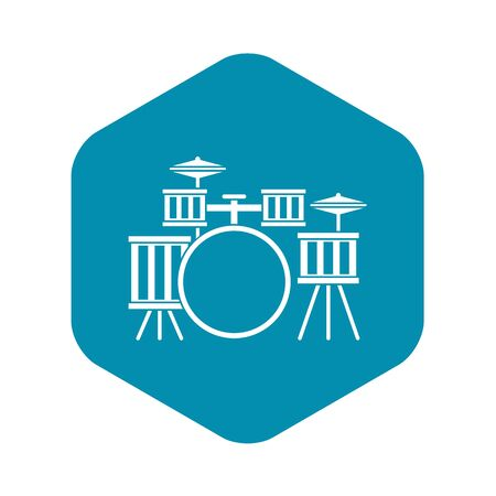 Drum kit icon, simple style