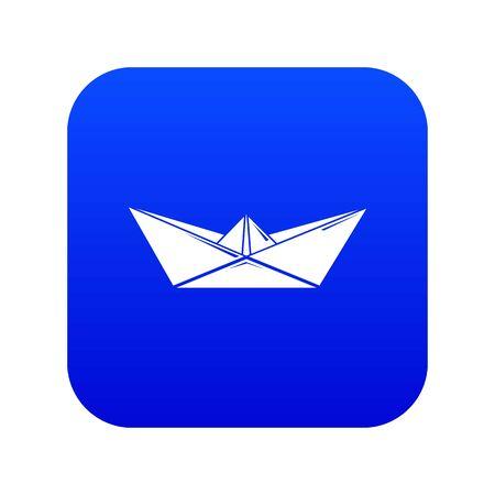 Origami boat icon blue Stock Photo