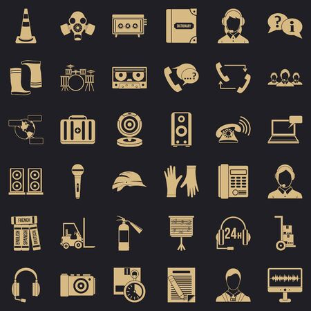 Microphone icons set, simple style