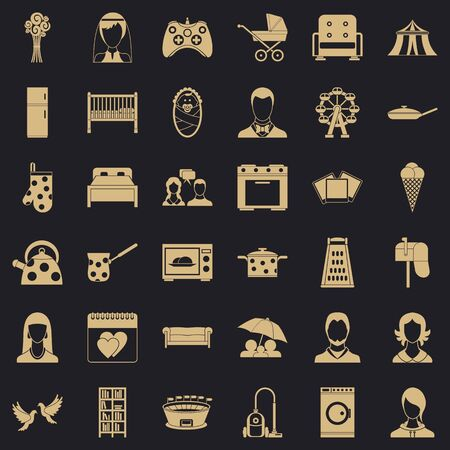 Father icons set, simple style
