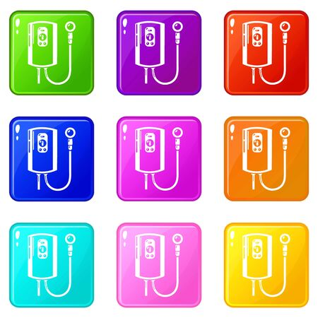 Boiler icons set 9 color collection Stock Photo