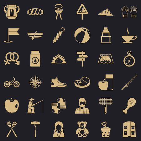 Family camping icons set, simple style