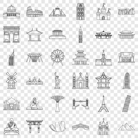 Country icons set, outline style Zdjęcie Seryjne