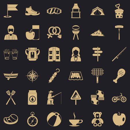 Hiking icons set, simple style Stock Photo