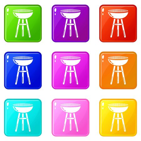 Barbecue icons set 9 color collection