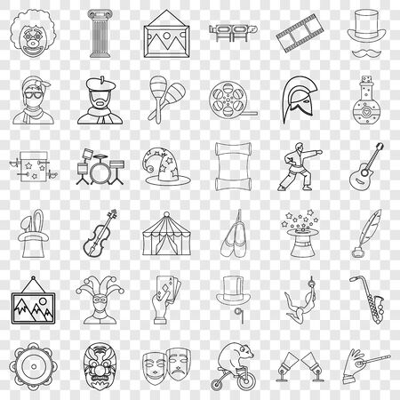 Ballet icons set, outline style 写真素材