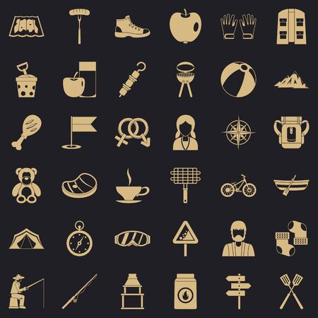 Backpack icons set, simple style