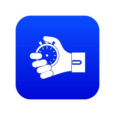 Hand holding stopwatch icon digital blue