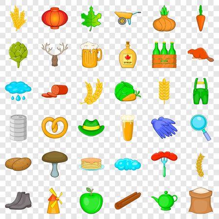 Season icons set, cartoon style