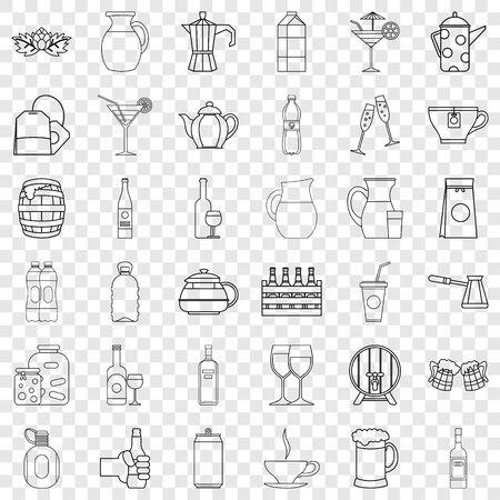 Bottle icons set, outline style Stock Photo