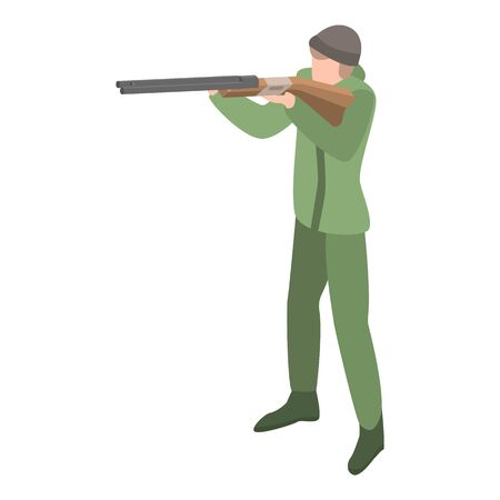 Hunter ready to shoot icon, isometric style