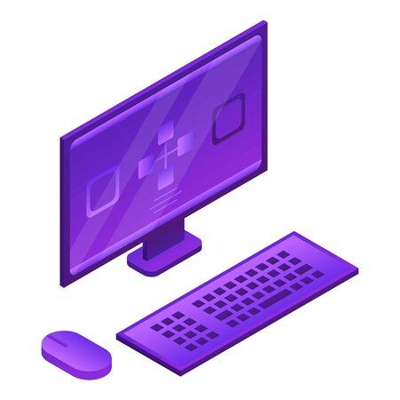 Desktop computer icon, isometric style