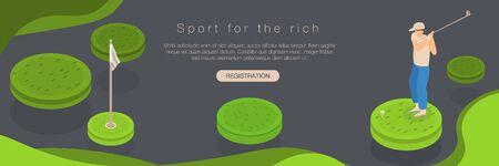 Golf sport rich concept banner, isometric style Фото со стока