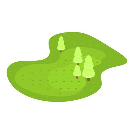 Green golf field icon, isometric style