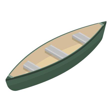 Lake wood boat icon, isometric style