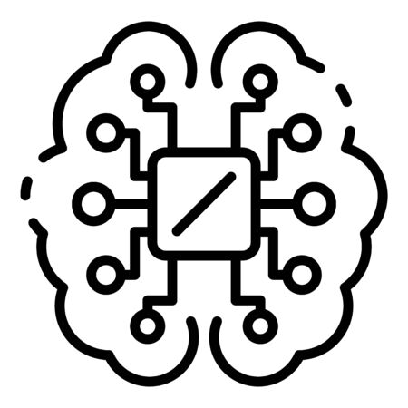 Ai processor brain icon, outline style