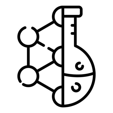 Molecular lattice and flask icon, outline style