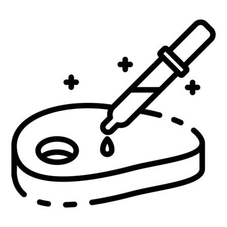 Meat with a pipette icon, outline style Stok Fotoğraf