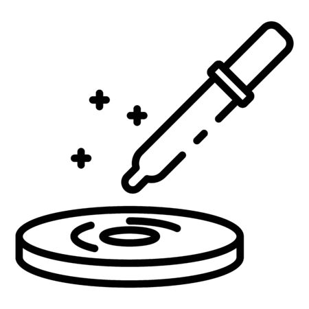 Petri dish with pipette icon, outline style