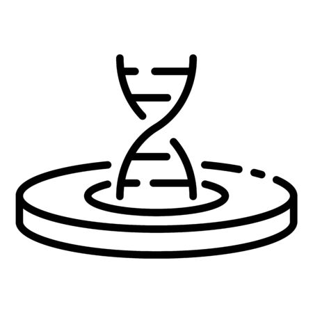 DNA strand in Petri dish icon, outline style