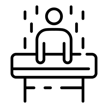 A man in a test tube icon, outline style