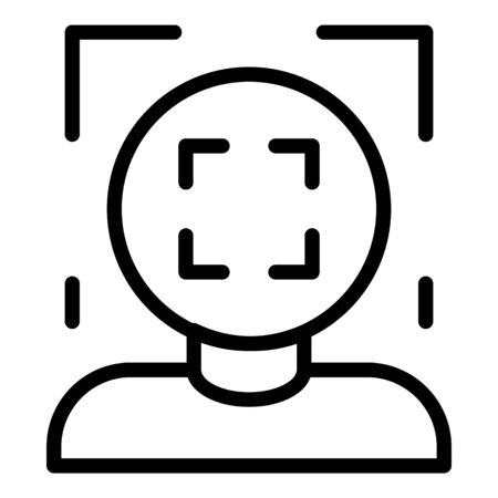 Face recognition frame icon, outline style 版權商用圖片