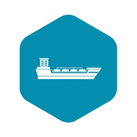 Oil tanker ship icon. Simple illustration of oil tanker ship vector icon for web Ilustração