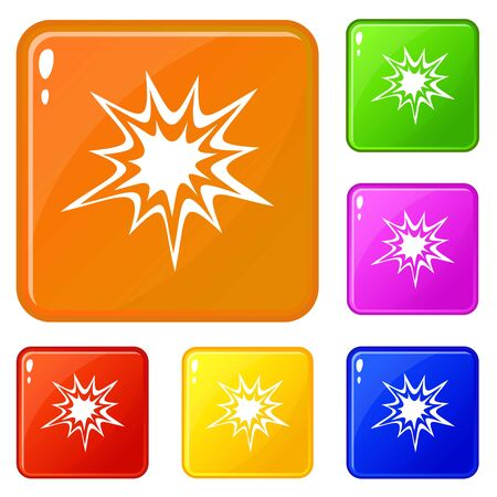 Heavy explosion icons set vector color