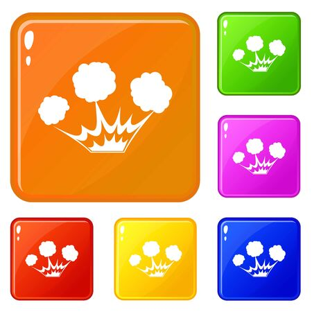 Explosion icons set vector color