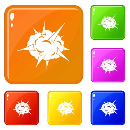 Power explosion icons set vector color 向量圖像