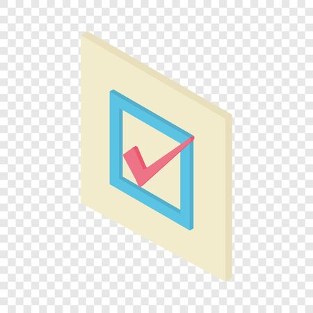 Check mark icon. Isometric illustration of check mark vector icon for web