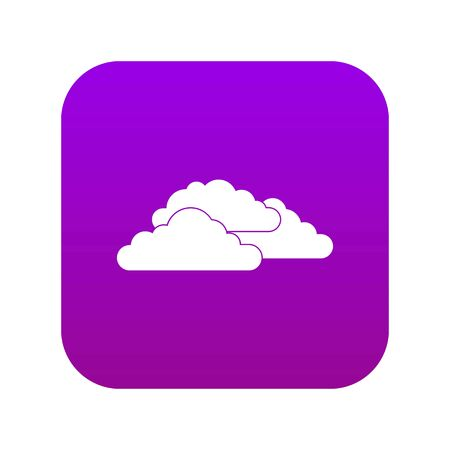 Clouds icon digital purple for any design isolated on white vector illustration Illustration