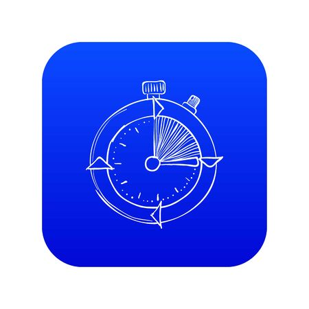 Stopwatch icon blue vector