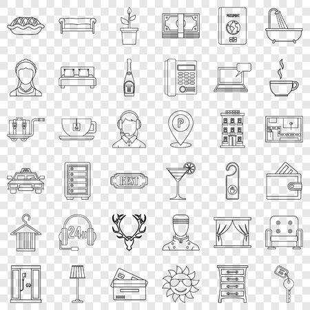 Parking icons set, outline style Illusztráció