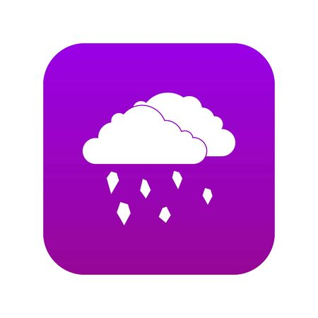 Clouds and hail icon digital purple for any design isolated on white vector illustration