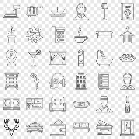 Doorman icons set, outline style