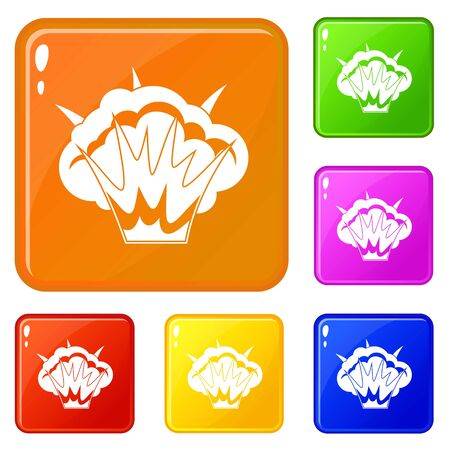 Projectile explosion icons set vector color