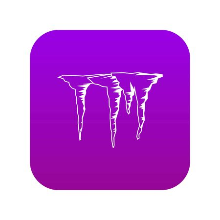 Icicles icon digital purple for any design isolated on white vector illustration